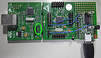 Name: STM8S_sb1.jpg Views: 364 Size: 183.8 KB Description: 3. This were you find the SB1 and SB2. The pin on the SB1 side is the one that needs to be connected to the RST on GT3B/GTX3.