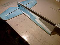 Name: PICT0011.jpg Views: 503 Size: 53.3 KB Description: I applied a bead of welders to the edges of the stiffeners only. Carefully lay them in place, check everything and then allow to dry. The stiffeners butt up against the aft edge of the nose doublers.