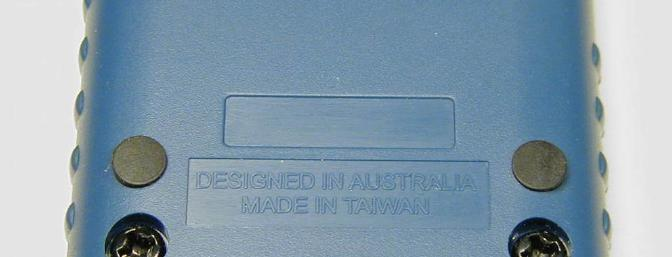 "Closeup of the back, showing ""designed in Australia"""