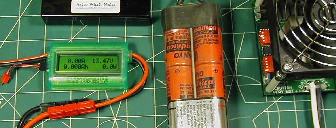 The three test meters, the CamLight PD-12V discharger and the 3000CR ten-cell pack all hooked together and ready to go.