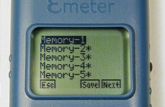 Memory 1 selected. Memories 2-5 are shown as already in use.