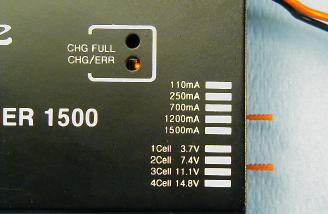 The Apache 1500 while charging. Jumpers are set for three cells, 1200 mA.