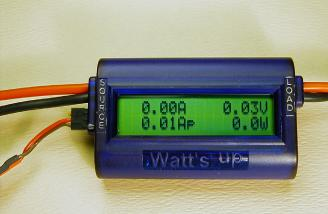 The version 2 meter showing a tiny voltage reading when externally powered. This appears only when nothing is connected to the main input/output and does not affect the accuracy of the reading