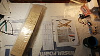 Name: 20191125_110035.jpg Views: 29 Size: 1.01 MB Description: the pile of balsa, wing plans, and the printed build instructions laid out.