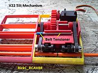 Name: TiltMech_Update_Feb1_ 004.jpg Views: 22 Size: 209.2 KB Description: Note the belt tensioner for the one side . The initial transmission unit's cases are NOT symmetrical and must be shimmed before mounting .
