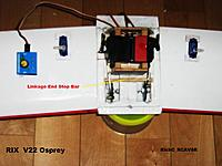 Name: Linkage_002.JPG Views: 89 Size: 198.5 KB Description: Use a portable servo tester to help adjust the various linkages shown . Note the use of an End Stop bar to prevent the servo from over rotating under load .