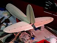 Name: He111-17.jpg Views: 257 Size: 73.2 KB Description: Horizontal bits done and rough sanded. Dummy trim tabs pinned in place
