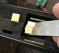 Name: BB469C1B-0673-4CB8-A388-364C5B726884.jpeg Views: 12 Size: 462.6 KB Description: Adding some ply squares to support the thread of the mounting screws. Add a drop of medium CA and position it under the factory hole.