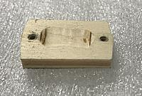 Name: 8F6F0777-4DD9-4486-B1C1-8EA95C82C532.jpeg Views: 14 Size: 643.7 KB Description: The plywood wedge that spaces the plug from the top skin of the wing. I recessed the face for clearance of the solder points on the back of the PC board.