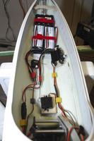 Name: DSC_3816.jpg Views: 119 Size: 61.1 KB Description: Final installation of equipment in forward fuselage: NiCad retract batt, two 2s Lipo packs, rudder servo and tow release servo