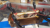 Name: DSCF1523.JPG Views: 47 Size: 2.93 MB Description: The servo leads and antennas are all held in place with a dab of hot glue.  Regular servo tape holds the receiver.  Preparing the glue areas with epoxy helps the tape bond properly.