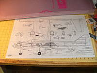 Name: dscf8804.jpg Views: 327 Size: 104.7 KB Description: Plans showing actual size we'll build.  The purple foam was purchased at Home Depot.  We'll use that to make the fuselage mold.