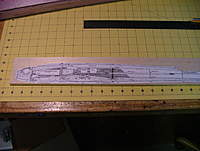 """Name: dscf8807.jpg Views: 235 Size: 75.6 KB Description: Use 3M #77 spray to attach the fuselage side view to the 3/8"""" thick balsa."""