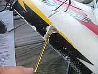 Name: dscf9105.jpg Views: 261 Size: 267.1 KB Description: The pitot tube needs to be facing straight into the wind.  Use thick CA and kicker.  It's not a bad idea to get a little glue on the flex tube so they don't blow off.