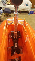 Name: 2016-09-23 12.40.54.jpg Views: 20 Size: 254.4 KB Description: New nose strut fitted on the wire. Hinge forward to allow bay doors to close.