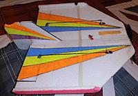 """Name: P9131393.jpg Views: 58 Size: 338.9 KB Description: A basic PP1 at 17"""" using 8mm EPP... is still going strong 2019 note  The pallet strapping used instead of  spars is used on the PP1 and Gymball.. Glued  with UHU POR on top and glued mirrored below the wing.."""