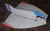Name: PB181467.jpg Views: 5 Size: 248.3 KB Description: fins re-shaped to get better %age numbers on the fuz. new COG markings on the wing.. the cross is at 22.5% ,  the lighter line at the rear is where I had it balanced for the first flights...