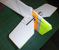 Name: P4281597web.jpg Views: 20 Size: 252.2 KB Description: rear end bracing CF flats on control surfaces and 1mm rod on the diagonal to stop twists