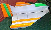 Name: P1120125.jpg Views: 4 Size: 303.7 KB Description: here you can see the v3 fat body.. note the rudder hinge line is between the first  orange and green stripes