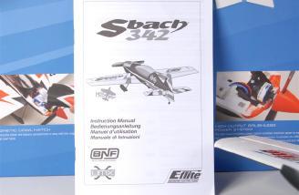 The E-flite UMX Sbach 342 manual.