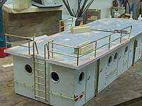 Name: Hartman Tug cabin railing 003.jpg Views: 281 Size: 65.0 KB Description: ladder was tricky, heatsinks, and leaving the bend long were a must. kept having to cut the ends off a little at a time