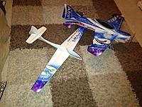 Name: !cid_692AF46A-807D-4159-8835-8046ADD2619F@home.jpg Views: 206 Size: 131.4 KB Description: More creative genius from Andy Whitehead. An all depron glider to be towed by last years Afriel in the Team comp.