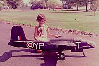 "Name: A-20 Keri.jpg Views: 35 Size: 653.0 KB Description: My sister Keri posing with Dad's Douglas A-20 Havoc / Boston III, 83"" span, twin .30 Wankels.  This was probably taken in 1973."