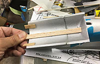 Name: IMG_7970.JPG Views: 36 Size: 1.16 MB Description: Reinforce on the inside, and then tapered balsa filler strips CA'ed to the bottom edges to fill the gap as the aft end will be raised.
