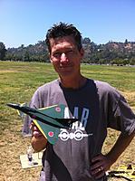 "Name: IMG_9525.jpg Views: 94 Size: 178.7 KB Description: 3 ch EuroFighter pusher prop park jet  8.5"" wing span 2mm Depron"