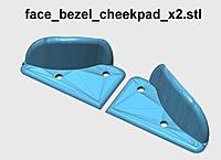 Name: face_bezel_cheekpad_x2_600.jpg Views: 171 Size: 39.0 KB Description: These are mounted to the face bezel with M3x6mm screws. Cover the cheek contact areas with soft foam weatherstrip material.