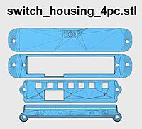 """Name: switch_housing_4pc_500.jpg Views: 147 Size: 51.1 KB Description: Top piece is left side goggle brace. The """"TOP"""" text indicates the topside. Do not install upside down. Use Qty 2 M3 x 8mm Button Head Screw.  Bottom 3 pieces hold the keypad PCB. Install on the right side with Qty 4 M3 x 8mm Button Head Screw."""