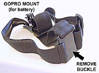 Name: gopro_head_strap1_800.jpg Views: 172 Size: 89.0 KB Description: Remove the buckle. It is plastic, so it is easy to break apart.