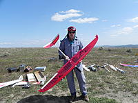 """Name: DSCN0743.jpg Views: 54 Size: 268.3 KB Description: Thermal Day Sunday. This """"Skipper"""" is Ready to fly his 19 0z. 70 inch,Red, Non competition Sail Plane, With Futaba 6 Meter Rock Bound Radio System. Specked out in a """"Hat Sucker"""" for about 45 Minutes. Futaba Just Works!"""