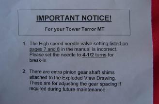 IMPORTANT: change in manual regarding high speed needle setup