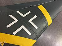 Name: IMG_9257.jpg Views: 32 Size: 663.8 KB Description: Rivets in the Stuka wing.  Not exactly the same as the full scale original, but it adds a nice subtle look to it.  Weathering and dullkote spray will be applied later for a better overall effect.