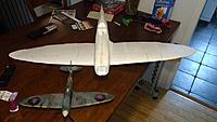 Name: IMG_20170606_163406.jpg Views: 147 Size: 209.3 KB Description: From the top you can see the whole wing span. It's basically going to be parkflyer size mainly for easy transport. Also I haven't yet completed the wing to fuselage fairings on the starboard side.