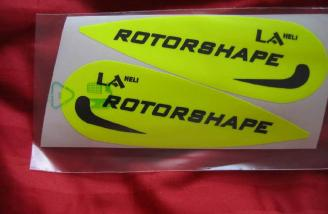 These day glo stick-ons enhance the visibility of the Rotoshape's slender airframe.