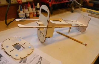 A robust fuselage core is made from plywood parts.