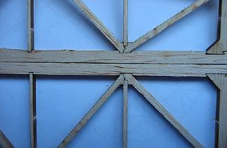 Complex interlocking truss joints in the stablilizer and elevator.