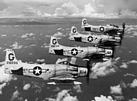 Name: 20110206091120!AD-4s_VA-216_in_flight_1956.jpeg Views: 18 Size: 512.9 KB Description: New paint scheme idea. Last known US Navy Skyraider AD-4N/NA's flying in formation in grey white paint scheme. Not many made it over to grey and white scheme. Most AD-4's were sold to France.