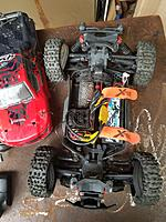Name: 20180420_180533.jpg Views: 68 Size: 2.18 MB Description: Granite Mega 4x4 with BLX185 power, 4s, and 1/8 buggy tires.  Yeah, 3 of 4 tires are blown.