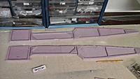 """Name: Fuse sides ready for bulkheads.jpg Views: 59 Size: 655.8 KB Description: 1/4"""" foam fuse sides, with 1/4"""" foam 'bits' glued on.  I find it easier than routing out 1/2"""" foam."""