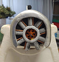 Name: Engine front view.jpg Views: 16 Size: 564.7 KB Description: I couldn't bring myself to put a dummy intake in front of the real cooling intake in the firewall, hence the missing 'copper' tube.