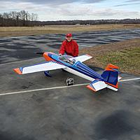 """Name: Greg Extra 4.jpg Views: 19 Size: 872.0 KB Description: Pre-maiden pic of 104"""" Extreme Flight Extra 300 EV2.  Custom electric powered precision aerobatic plane competed once in the Advanced class in IMAC and completed 220 flights before a sudden loss of control caused a crash. RIP."""