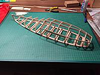 Name: IMG_6514.jpg Views: 10 Size: 1.00 MB Description: All of the lower hull formers, the keel, the chines of the front part and the landing gear and float mounts are glued together.