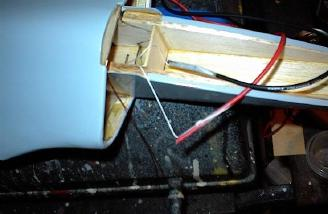 13 gauge power wires were attached to the pull strings with cello tape.