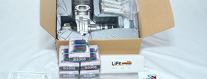 Parts provided by Hobbico include the DLE-61, Futaba S3305 servos, a LiFe pack and prop.