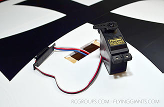 Installing the Futaba S3305 wing servos - don't forget the servo savers.