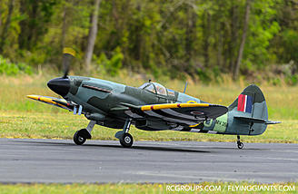The Phoenix Models 1/4 scale Spitfire looks great on the runway.