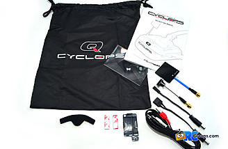 The Quanum Cyclops Diversity DVR FPV Goggle comes with a nice carry bag, plug adapters, AV cords and a decent manual.